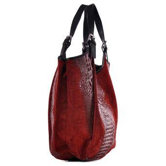 Czerwona torebka damska skórzana worek Saffiro