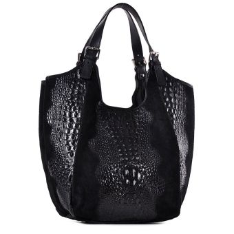 Czarna torebka skórzana worek na ramię Saffiro