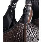 Brązowa torebka skórzana na ramię worek Saffiro