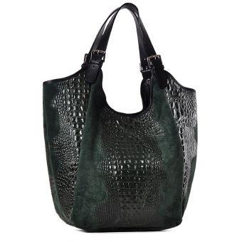 Zielona torebka skórzana damska na ramię Saffiro