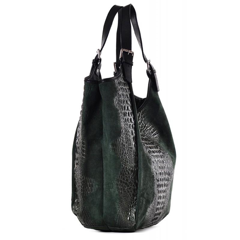 3261df26924fb ... Zielona torebka skórzana damska na ramię Saffiro ...