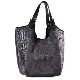 Szara torebka skórzana damska na ramię Saffiro