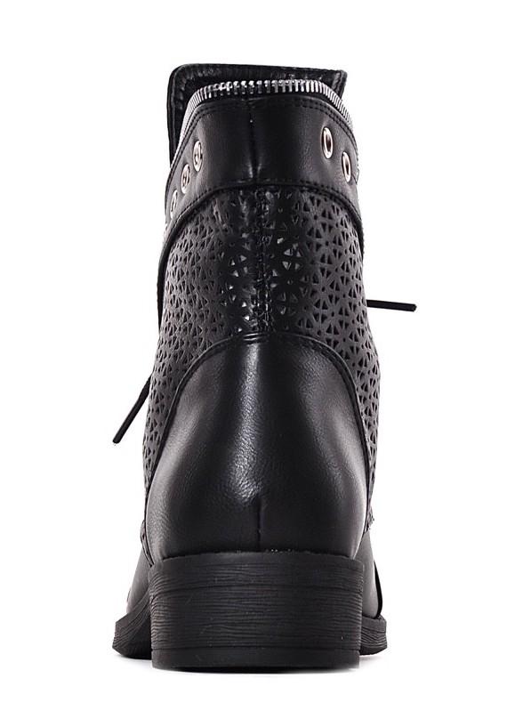 botki Laza Czarne trapery damskie ażurowe wiązane