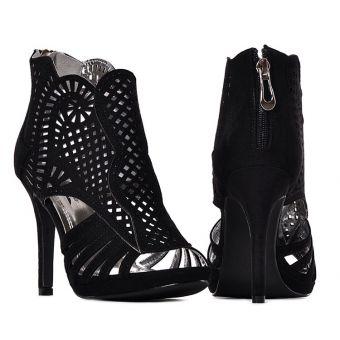 Czarne sandały damskie na obcasie szpilki ażurowe