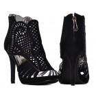 Czarne szpilki damskie z ażurem sandały na obcasie