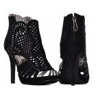 Sandały damskie na obcasie czarne ażurowe