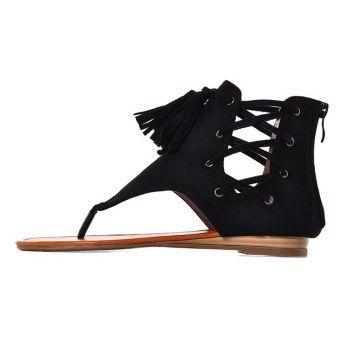 Czarne sandały damskie zamszowe boho z chwostami