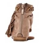 Beżowe sandały damskie zamszowe boho na płaskim