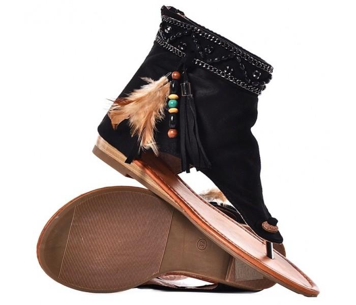 Czarne sandały damskie zamszowe boho na płaskim