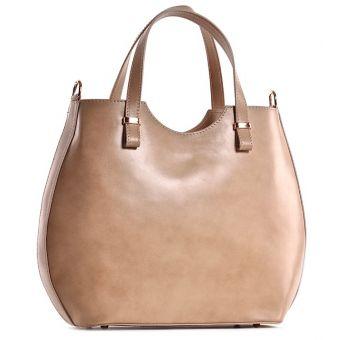 Beżowa torebka skórzana shopper Patrizia
