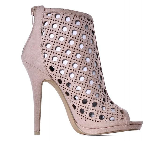 Sandały damskie na obcasie beżowe szpilki