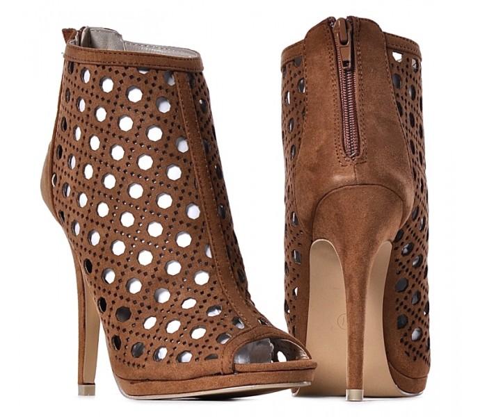 Sandały damskie na obcasie brązowe szpilki