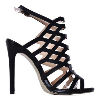 Czarne eleganckie sandały szpilki ażurowe