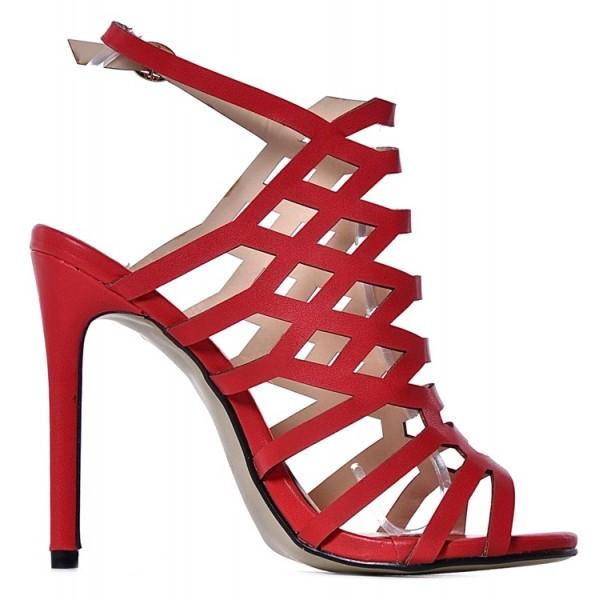 Czerwone sandały damskie na obcasie ażurowe