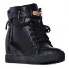 Czarne sneakersy damskie na koturnie z kłódką