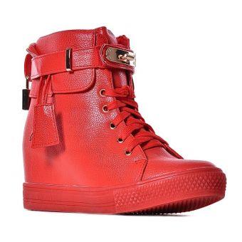 Czerwone sneakersy damskie na koturnie z kłódką