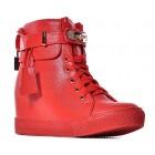 Czerwone sneakersy  damskie z kłódką
