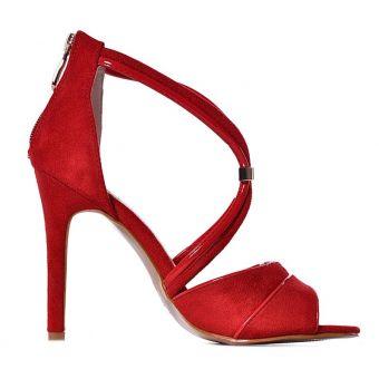 Sandały na obcasie czerwone