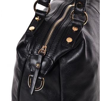 Czarna skórzana torba damska na ramię Amina