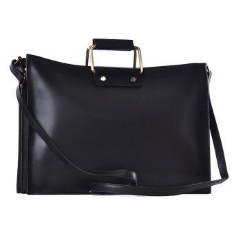 Biznesowa czarna torba na laptopa skórzana Fiorina