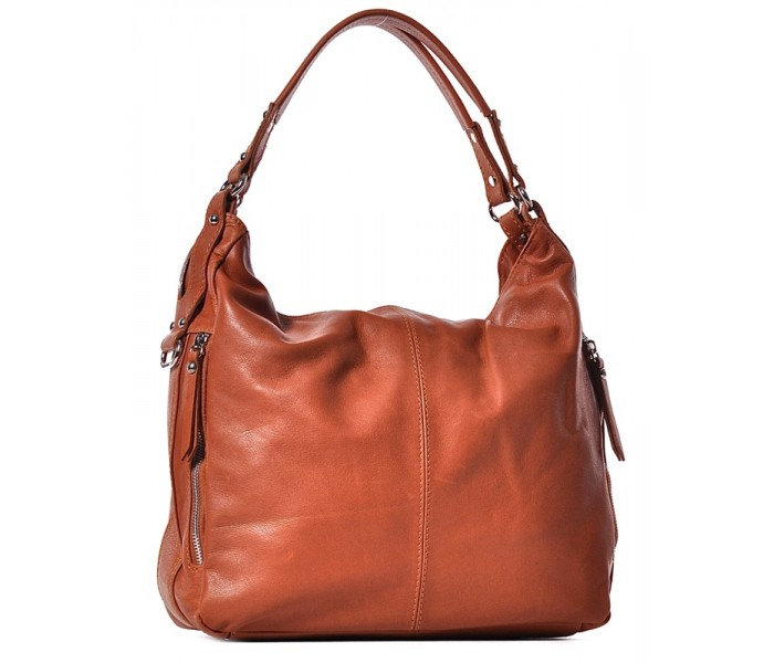 Skórzana torebka damska beżowa na ramię Sara