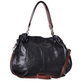 Czarna torebka damska ze skóry na ramię Kiria