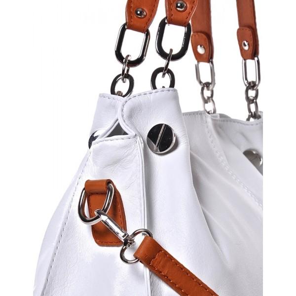 Biała skórzana torebka damska na ramię Kiria