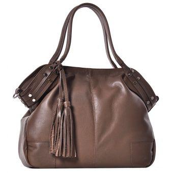 Beżowa torebka skórzana z frędzlami Cristina