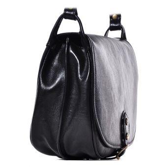 Czarna torebka damska na długim pasku ze skóry Malika