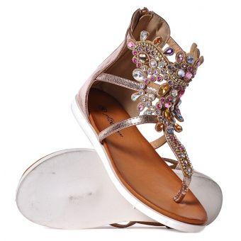 Damskie sandałki z kryształkami na płaskim