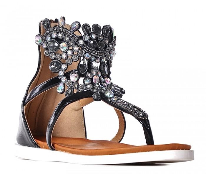 Czarne sandały damskie z kryształkami na płaskim