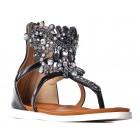 Czarne gladiatorki damskie sandały z kryształkami modne buty