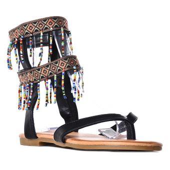 Czarne sandały damskie japonki z koralikami