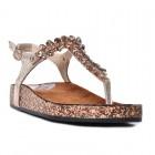 Złote sandały damskie z kryształkami na korkowej podeszwie