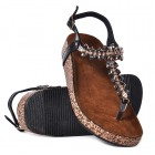Czarne sandały na płaskim złote sandałki damskie