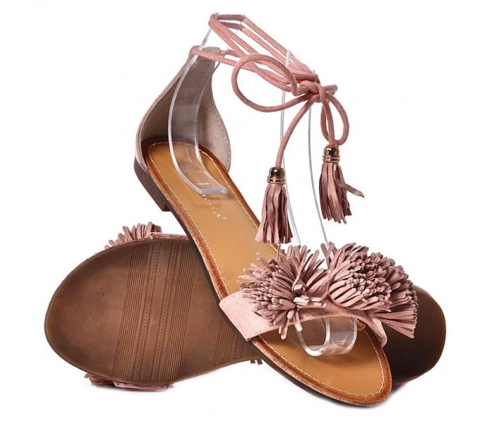 Płaskie sandały damskie nude zamszowe sandałki