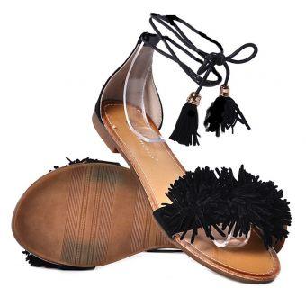 Płaskie sandały damskie czarne zamszowe sandałki