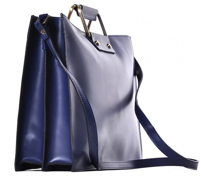 2977e06631268 Granatowa torba damska na laptopa skórzana Fiorina