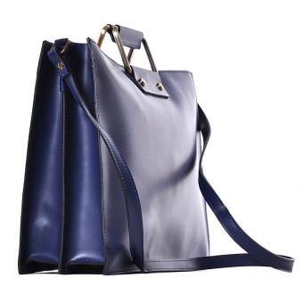 Granatowa torba damska na laptopa skórzana Fiorina