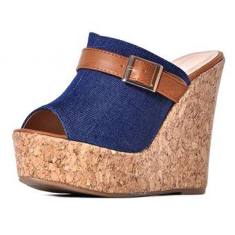 Klapki damskie na koturnie korkowej dżinsowe buty