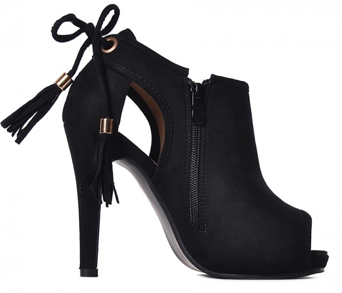 Peep toe czarne buty damskie na obcasie