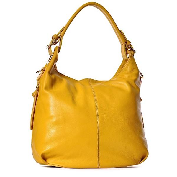 Żółta torebka damska ze skóry na lato