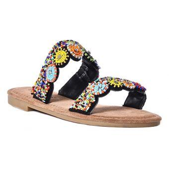 Kolorowe klapki damskie sandałki z koralikami