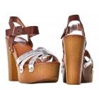 Srebrne sandały damskie na obcasie chodaki drewniaki