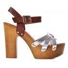 Sandały damskie na drewnianym obcasie srebrne