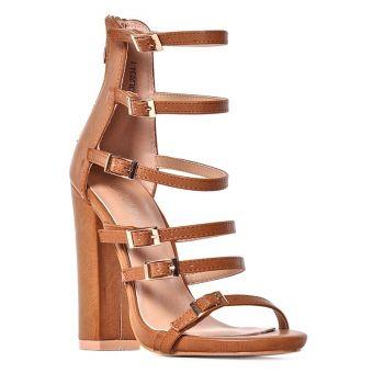 Eleganckie sandały damskie na obcasie brązowe
