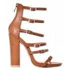 Sandały damskie na słupku brązowe buty na lato