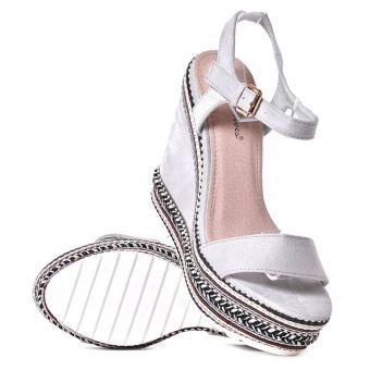 Szare koturny damskie na lato sandały na koturnie