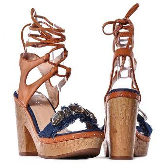 Drewniaki damskie sandały na obcasie wiązane
