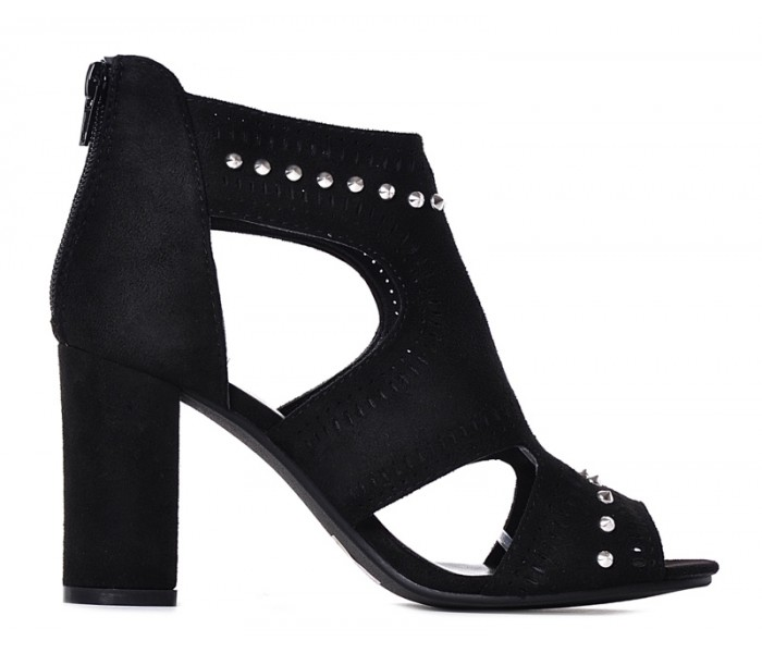Czarne buty damskie peep toe na słupku